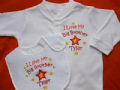 Personalised Love My Big Sister Brother Mummy Daddy etc- sleepsuit and bib set